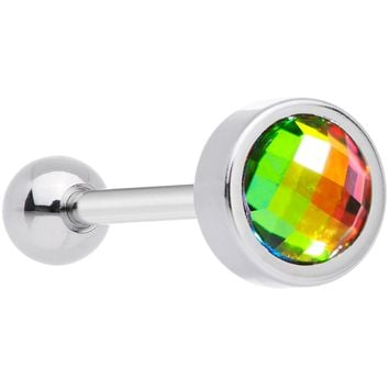 Rainbow Gem Gold Anodized Cross Stitch Barbell Tongue Ring