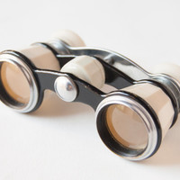Opera glasses, theatre binoculars, white, black tones, Soviet Era