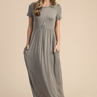 Picture Perfect Short Sleeve Maxi Dress - Cocoa