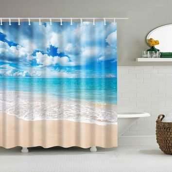 Sunshine Beach Waterproof Shower Curtains Polyester Fabric High Quality Bathroom Curtains Mildewproof Blind For The Bathroom