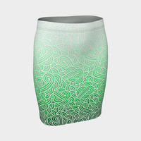 Ombre green and white swirls doodles Fitted Skirt Fitted Skirt
