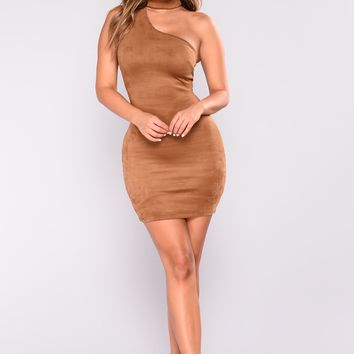 Not A Chance Suede Dress - Coco