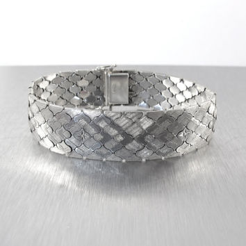 Wide Sterling Omega Link Bracelet, Etched Diamond Cut, Basket Weave Mesh Semi Rigid Bangle Bracelet, Vintage Italian Sterling Silver Cuff 8""