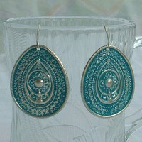 Lightweight Teal Dangle Earrings Stamped Medallion Enamel Jewelry