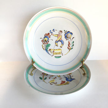 Two Arabia of Finland Folk Art Dinner Plates