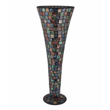 Astonishing Mosaic Designed Modern Vase, Black By Benzara