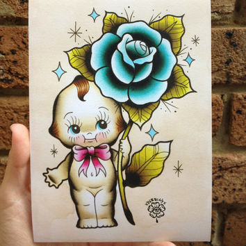 My Dear Kewpie Doll- A5 Digital Print Watercolour Traditional Tattoo Flash