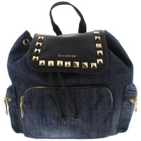 Bebe Womens Donna Denim Faux Leather Trim Backpack
