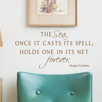 Vinyl Wall Decal Quote- The Sea- Jacques Cousteau-Vinyl Wall Quotes
