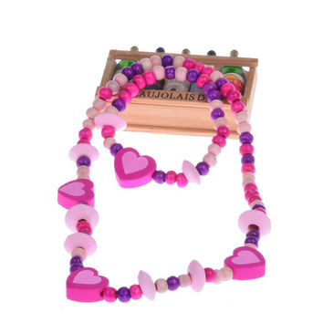 Free Shipping Fashion New Children Jewelry Sets For Girls Wooden Cute Love Heart Beads Necklace Bracelet Jewelry Set Baby Gift