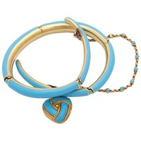 1890s Turquoise Enamel with Pearl and Turquoise Gold Wrap Around Bangle Bracelet