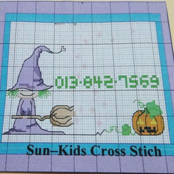 Halloween Witch and Pumpkin Cross Stitch Kit, Basic, DIY, Gift Idea