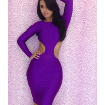 Backless Cut Out Dress Light Purple