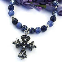 Tudor Cross and Sodalite Handmade Necklace, Blue Gemstones Renaissance Artisan Jewelry