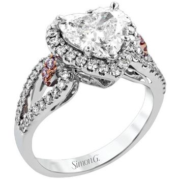 Simon G. Split Shank Heart Shaped Halo Diamond Engagement Ring