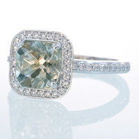 14K White Gold Cushion Cut Green Amethyst Diamond Engagement Anniversary Wedding Ring