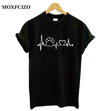 MOXFCIZO Paw Heartbeat Lifeline dog cat Women tshirt Halajuku Casual Funny t shirt Women Unisex Lady Girl Women Top Tees Hipster