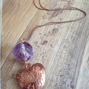 Rose gold heart and  bead necklace