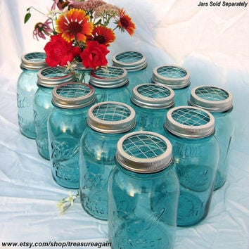 DIY Wedding Flowers Mason Jars Centerpieces 12 Upcycled FLOWER FROG Ball Jars Lids, Weddings, Garden, Flower Arrangement Lids Only, No Jars