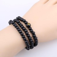KUNIU 6MM Bead Bracelet Black Color Mutilayer Bracelet Tibetan Buddhist Meditation Wooden Rosary Beaded Bracelets