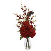 SheilaShrubs.com: Hydrangea Cherry Blossom and Rose Arrangement 1327 by Nearly Natural : Artificial Flowers & Plants