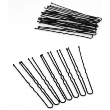 CREYG8W 20PCS Professional Black Metal Barrette Thin U Shape Hairpins Makeup Hair Bun Maker Hair Accessories Black Hair Clip Pins Tools