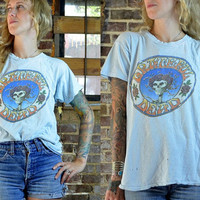 Vintage 70's Grateful Dead Baby Blue Steal Your Face Dead Tour Rock T Shirt