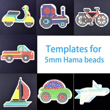 7 Pcs Perler Beads Transportation Templates For 5mm Hama Beads Iron Melty Beads Pegaboards Set