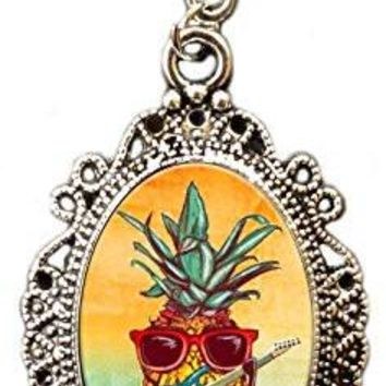Alkemie Rocking Tropical Pineapple with Electric Guitar Cameo Pendant Necklace