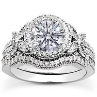 Engagement Ring - Round Diamond Butterfly Halo Bridal Set in 14K White Gold - ES1036BSWG