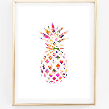 floral pineapple painting art print room decor Typographic Print drawing wall decor framed quotes bedroom poster tumblr room decor 8x10