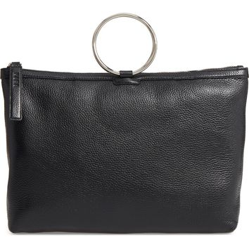 KARA Large Pebbled Leather Ring Clutch | Nordstrom