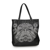 Star Wars Storm Trooper Stitch Floral Faux Leather Tote Black & White Bag