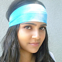 Blue Tie-Dye Headwrap Blue Ombre Headband Hippie Headband Workout Headband Hair Accessores