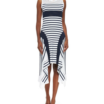 Women's Sport-Stripe Handkerchief-Hem Tank Dress - Jean Paul Gaultier - Navy / white