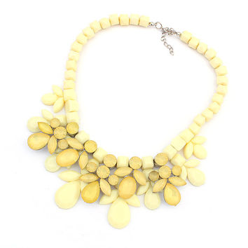 Lemon Yellow Flower Statement Necklace Bib Bubble Necklace Choker Necklace Bead Chain, Gift for Women, Bridesmaid, Bride, Wife, Girlfriend