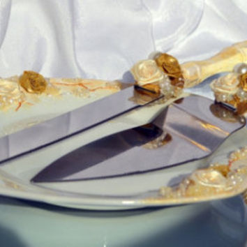 "Cake Serving Set Antique Golden Rose collection ""Idyll"" Service à gâteau Wedding server and knife ivory gold Wedding Cake accessories"
