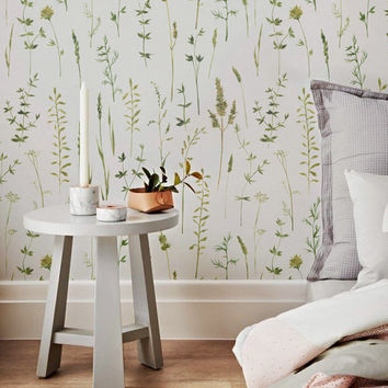 Flowers and Grass Siluets Wallpaper - Grass Removable Wallpaper - Flowers Wall Decal - Flowers and Grass Siluets Self Adhesive Wallpaper 142