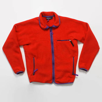 Vintage 90s PATAGONIA JACKET / 1990s Red Full Zip Unisex Fleece Jacket