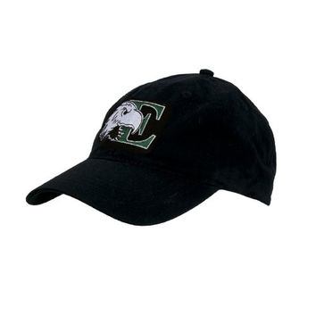 Eastern Michigan Black Twill Unstructured Low Profile Hat 'E w/Eagle Head'