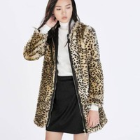 ZARA BROWN ANIMAL LEOPARD PRINT FURRY COAT WITH ZIP SIZE L LARGE