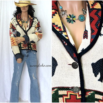 Vintage 80s Boho wanderer cropped jacket / sweater S M L southwestern cotton tapestry jacket tribal woven cotton jacket SunnyBohoVintage