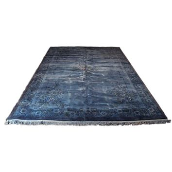 10x14 Overdyed Floral Chinese Art Deco Blue Rug 1199
