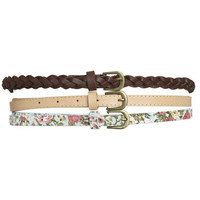 3 Floral Braided Skinny Belt | Shop Accessories at Wet Seal