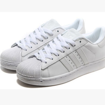 """Adidas"" Fashion Shell-toe Flats Sneakers Sport Shoes Pure White"