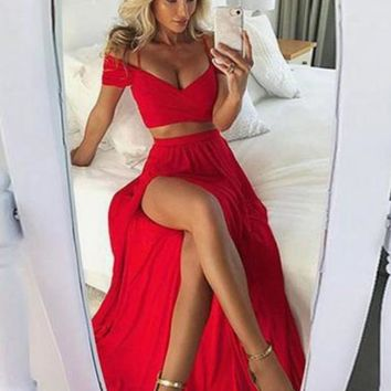 Long Off Shoulder Red Prom Dress, Red Evening Dress