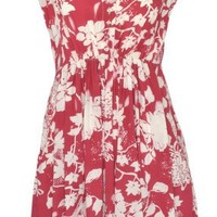 Banana Flame Floral Garden Tea Dress, Size Small, Red