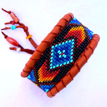 Beaded Cuff Deerskin Leather Bracelet Native American Geometri