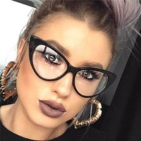 Cat Eye Retro Eyeglasses Plastic Frame Clear Lens Women Designer Fashion Glasses