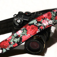 dSLR Camera Strap. Roses Camera Strap. Floral Camera Strap. Women accessories